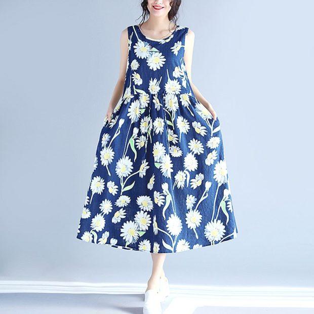модные луки весна 2019 платье синее в цветы пышное
