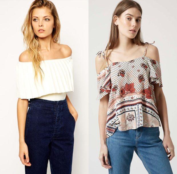 модные луки весна 2019 блузка без плеч белая в принт