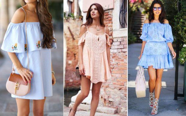 модные луки весна 2019 платья без плеч короткое светлое
