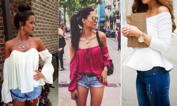 модные луки весна 2019 блузки без плеч под шорты