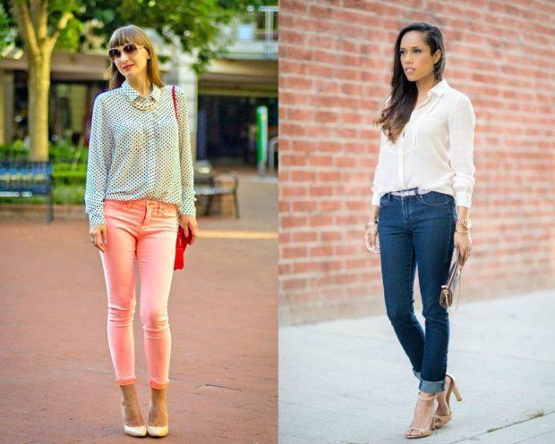 модные луки весна 2019 блузка под джинсы розовые синие