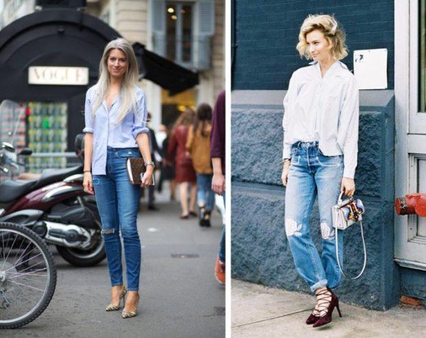 модные луки весна 2019 блузка под джинсы