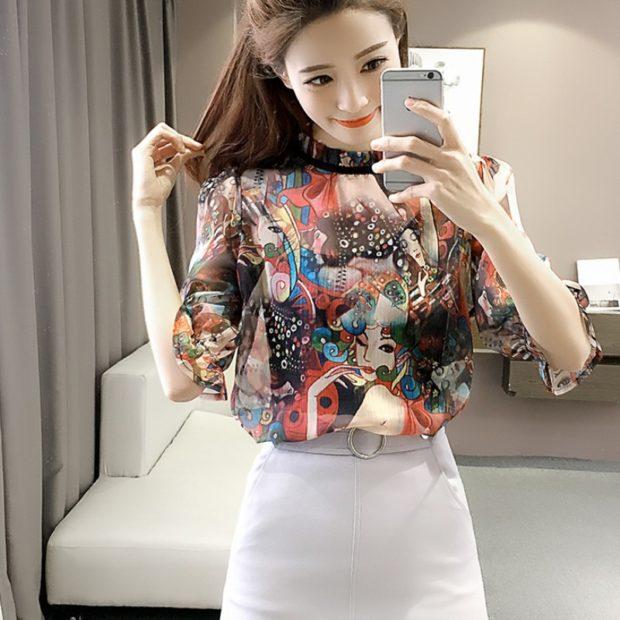 модные луки весна 2019 блузка цветная под юбку