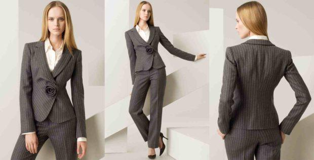 модные луки весна 2019 костюм брючный серый