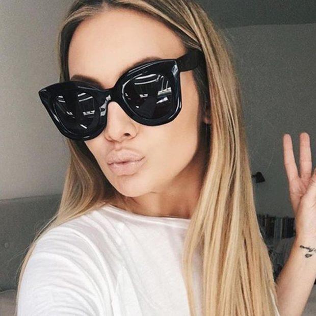 модные очки от солнца 2018: пластиковые черные вытянутые