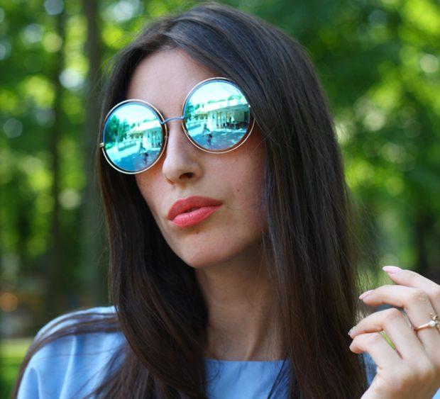 модные очки от солнца 2018: круглые отражающие