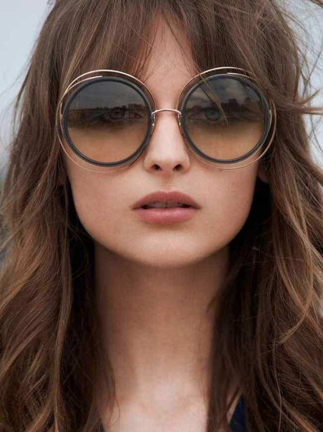 модные очки от солнца 2018: очки круглые двойная оправа