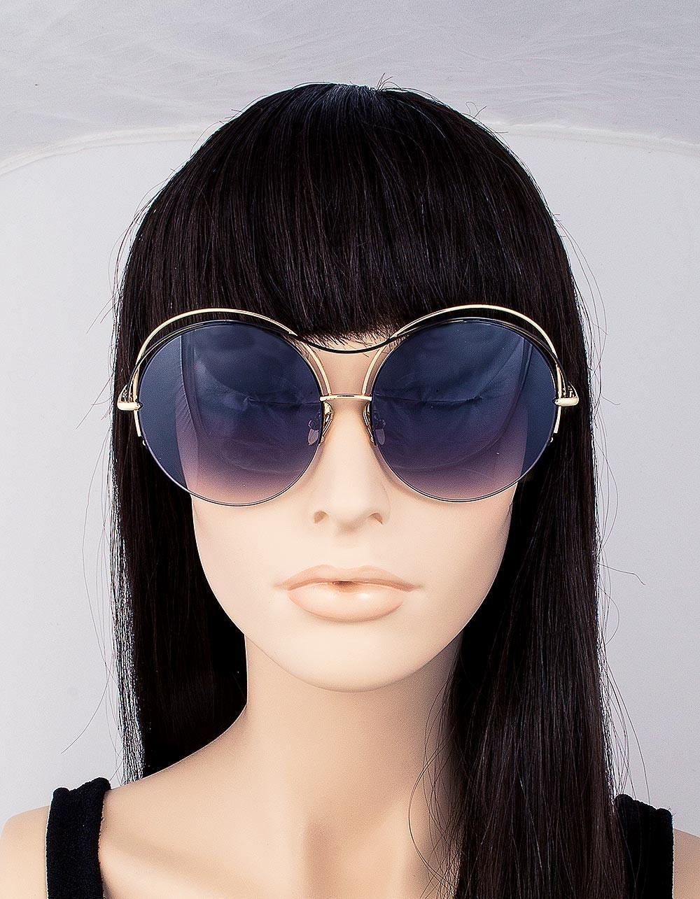 модные очки от солнца 2018: очки круглые оверсайз двойная оправа