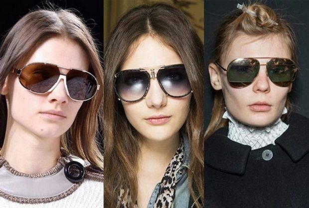 модные очки от солнца 2018: перемычка двойная с камнями