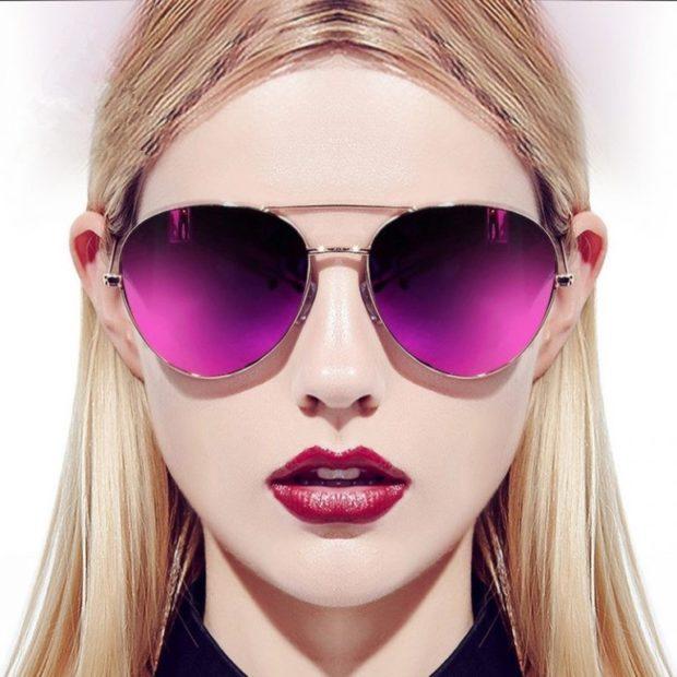 модные очки от солнца 2018: очки с двойной перемычкой сиреневые