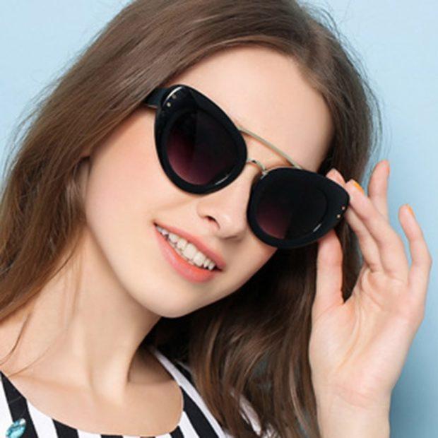 модные очки от солнца 2018: форма крылья бабочки черные
