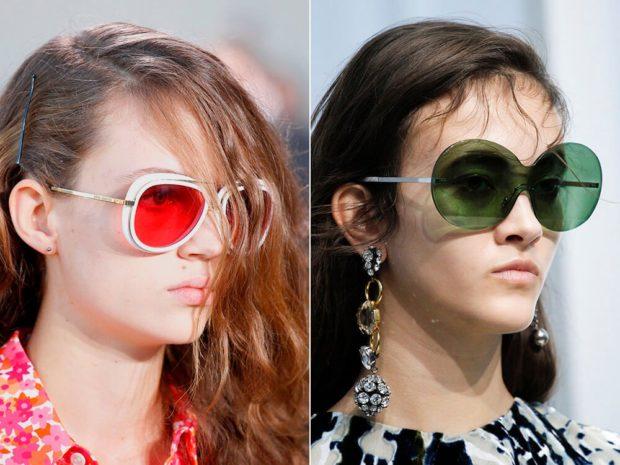 модные очки от солнца 2018: с цветными стеклами красные зеленые