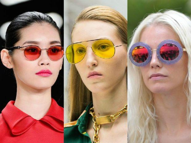 модные очки от солнца 2018: стекла красные желтые бензиновые