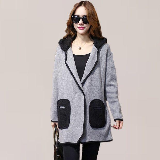 модные женские кардиганы: серый с большими карманами
