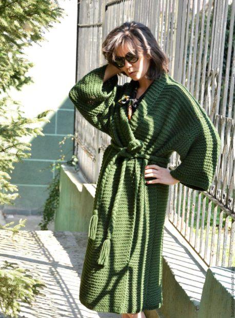модные кардиганы женские 2019-2020: зеленый в восточном стиле