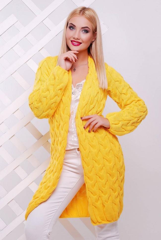 модные женские кардиганы 2019-2020: желтый вязанный с рукавом