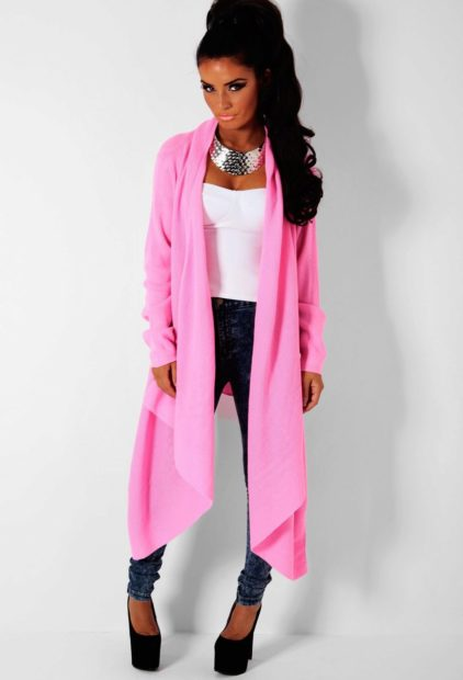 модные женские кардиганы 2019-2020: розовый длинный