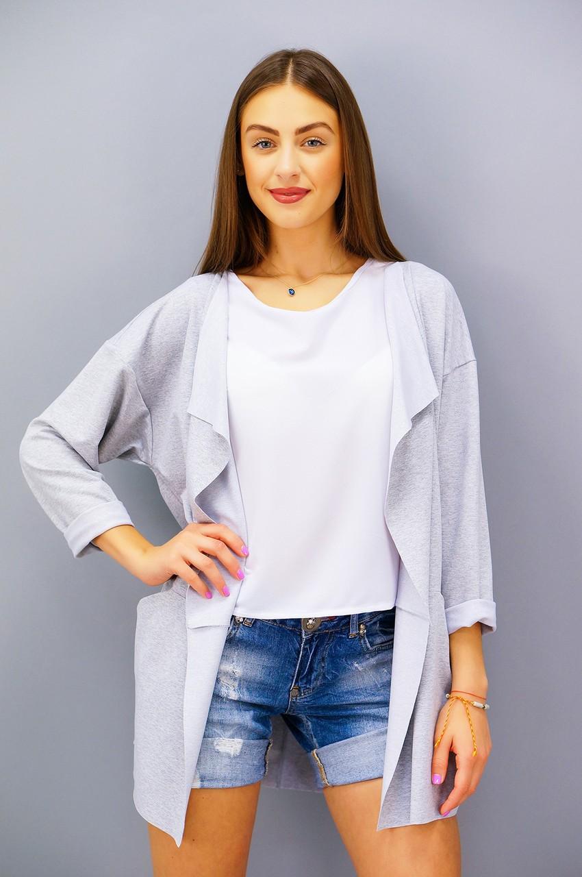 модные женские кардиганы 2019-2020: серый короткий
