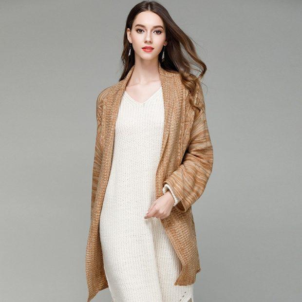 модные женские кардиганы: коричневый удлиненный вязаный