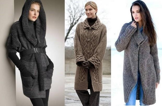 модные женские кардиганы 2019-2020: серый с капюшоном коричневый вязанные