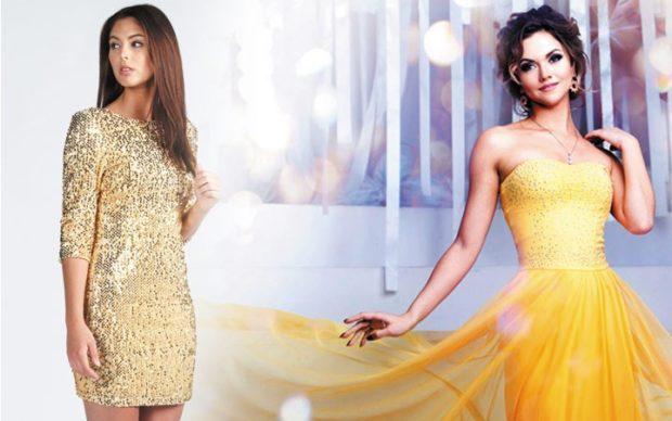 новогодний образ 2018: платье в блестку желтое платье