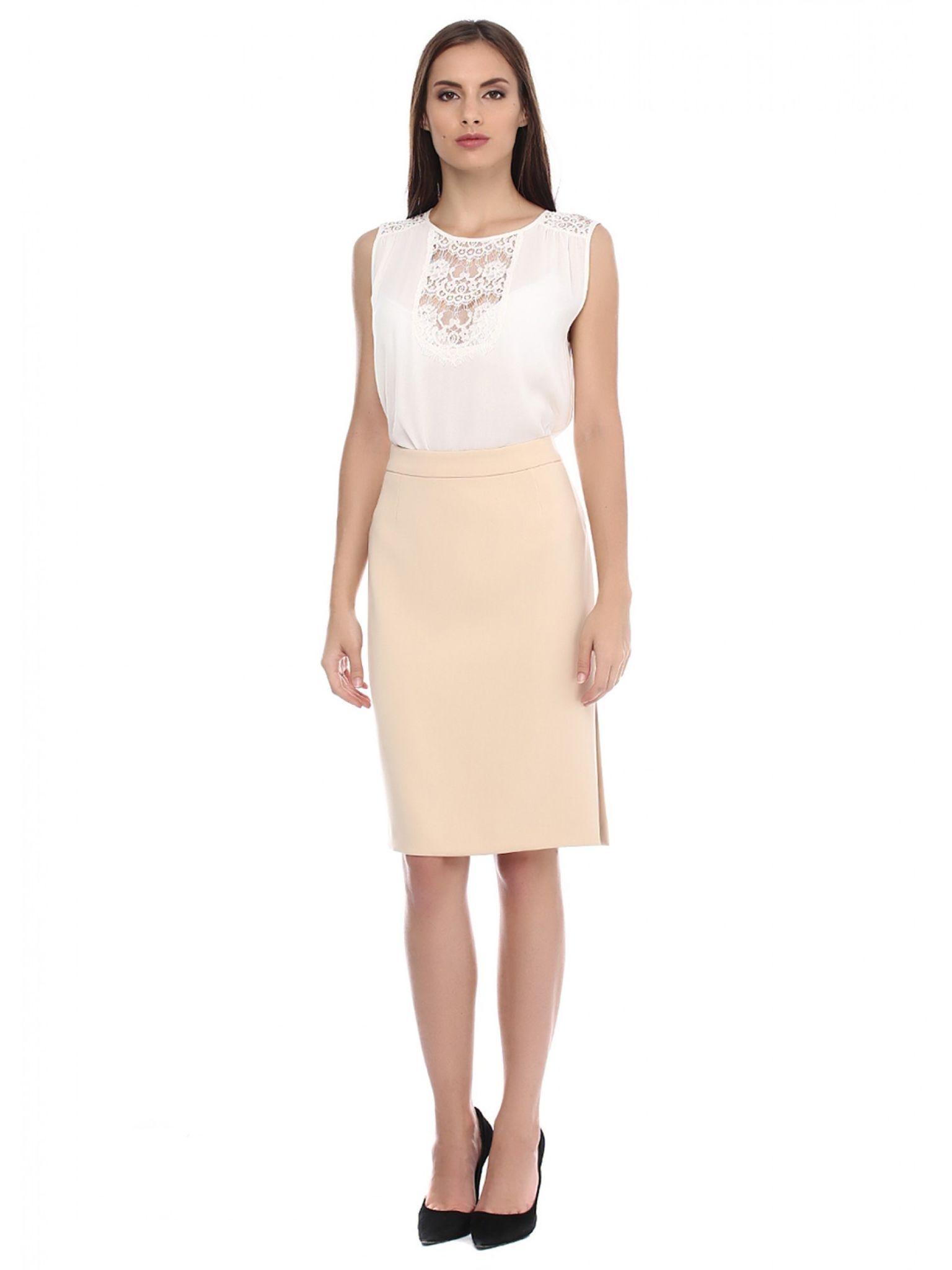 новогодний образ 2018: юбка карандаш под блузку белую