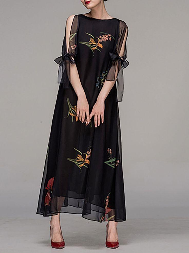 новогодние образы 2018: платье шифоновое черное с принтом