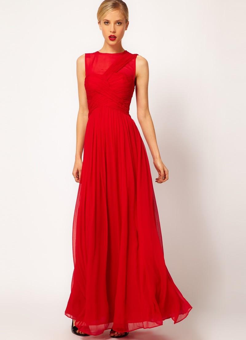 новогодние образы 2018: платье красное шифоновое