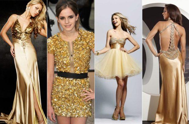 новогодний образ 2018: платья в блестки золотые