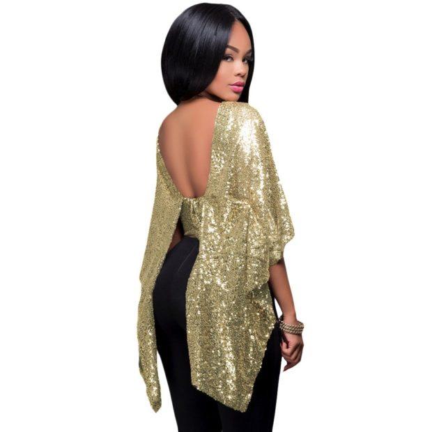 новогодний образ 2018: блуза золотая под юбку