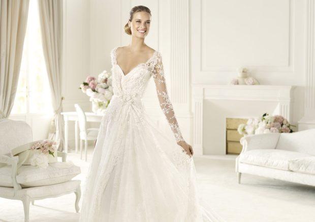 свадебные коллекции Elie Saab 2018 V образный вырез кружевные рукава
