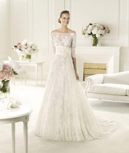 свадебные коллекции Elie Saab 2018 открытые плечи гипюровый верх