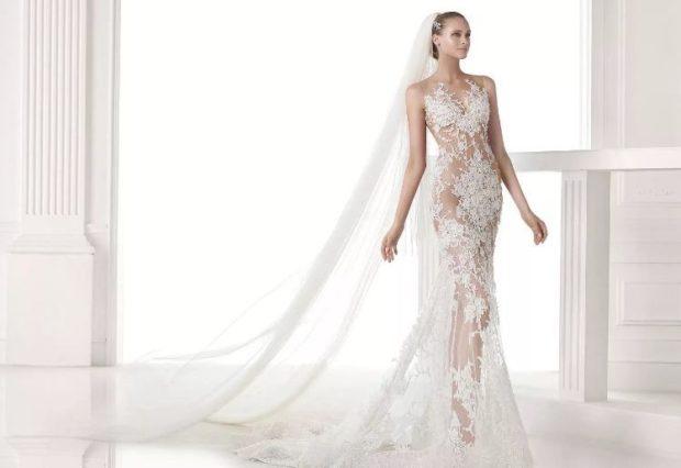 свадебные коллекции Elie Saab 2018 платье кружевное с хвостом