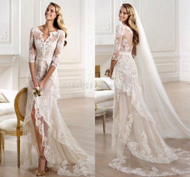 свадебная коллекция Elie Saab 2018 платье с хвостом гипюровое