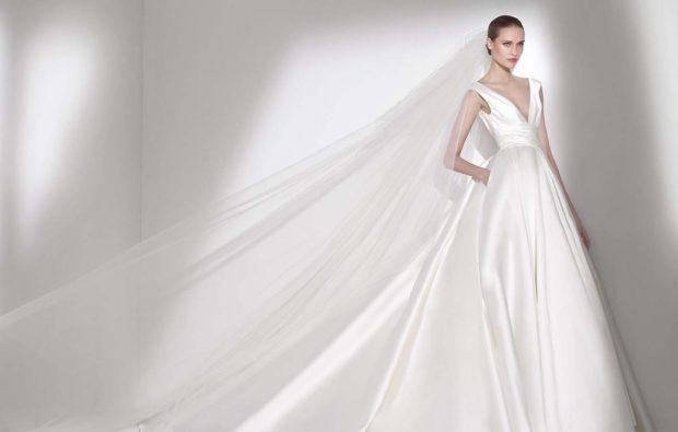 свадебная коллекция Elie Saab 2018 платье атласное клеш