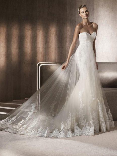 свадебная коллекция Elie Saab 2018 платье клеш с фатином