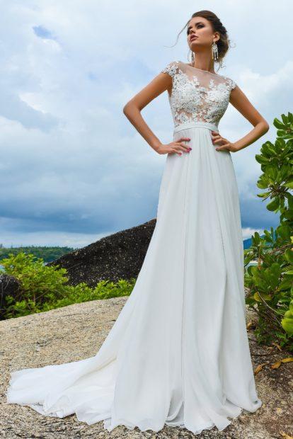 свадебная коллекция Elie Saab 2018 платье с кружевным верхом