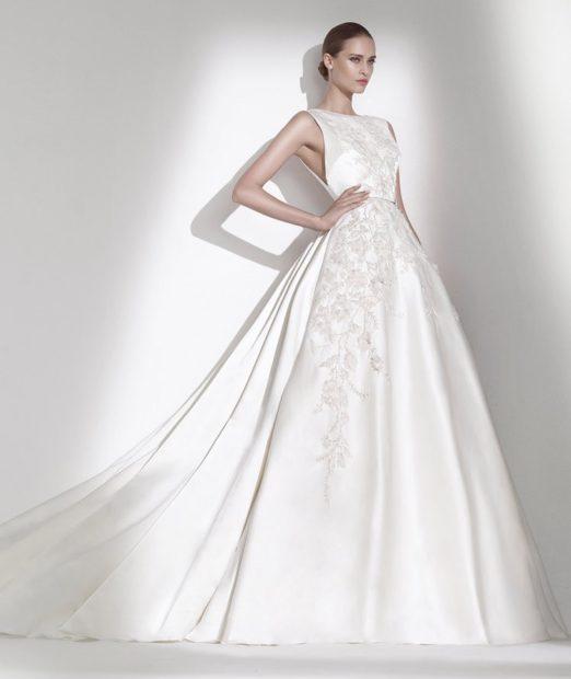 свадебные коллекции Elie Saab 2018 платье с пышной юбкой белой