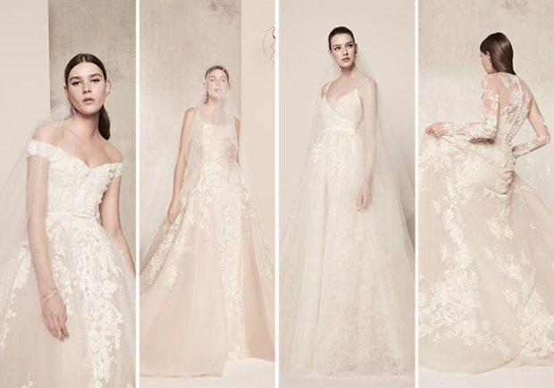 Свадебная коллекция Elie Saab 2018 без плеч с гипюровой спиной