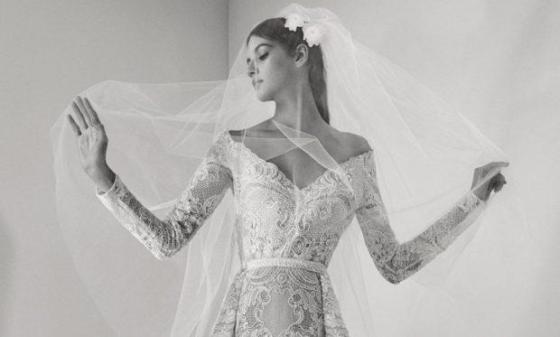 Свадебная коллекция Elie Saab 2018 Vобразный вырез