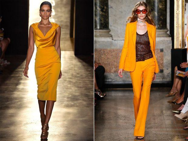 Что надеть на Новый год 2020:платье миди оранжевое без рукава костюм брючный
