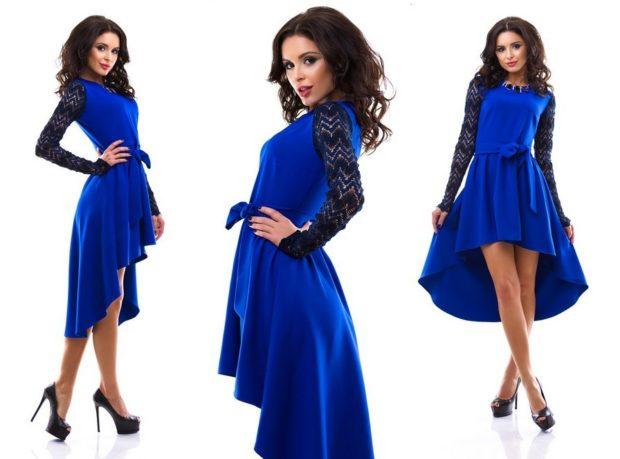 Что надеть на Новый год 2020: платье синее асимметрия