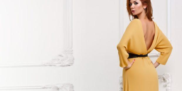 Что надеть на Новый год 2020: платье открытая спина желтое