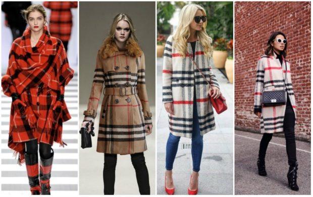 Что надеть на Новый год 2020: пальто в клетку красное коричневое белое