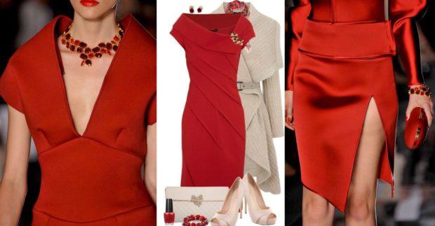 Что надеть на Новый год 2020: платье красное с разрезом