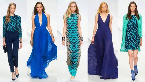 Что надеть на Новый год 2020: костюм брючный синий платье голубое в пол платье миди в принт