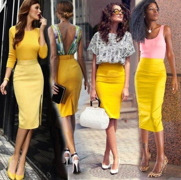 Что надеть на Новый год 2020: юбки желтые карандаш по колено