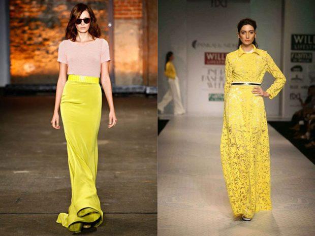 Что надеть на Новый год 2020: юбка в пол желтая платье длинное желтое с рукавами