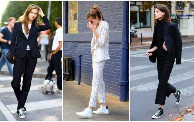 женская мода весна-лето 2019: смешивание спортивного стиля и классики костюмы под кеды кроссовки