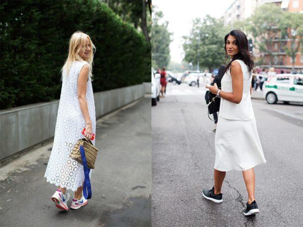 женская мода весна лето 2019: сарафаны под кроссовки белые